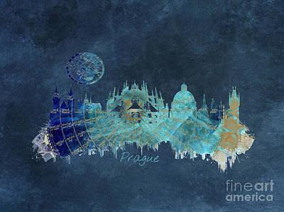 Prague Digital Art - Prague Skyline Blue Art by Justyna JBJart