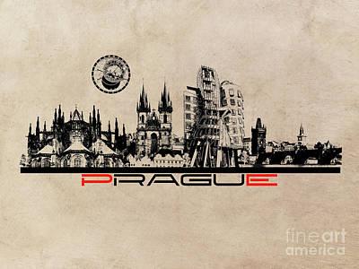 Prague Skyline City Art Print by Justyna JBJart
