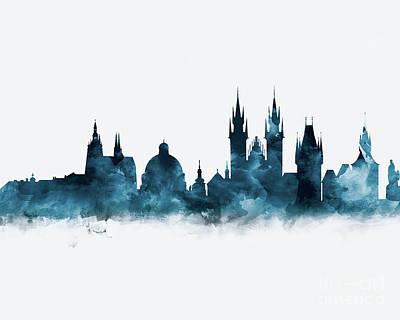 Prague Czech Republic Mixed Media - Prague Skyline by Monn Print