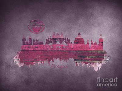 Praha Digital Art - Prague Skyline Purple by Justyna JBJart