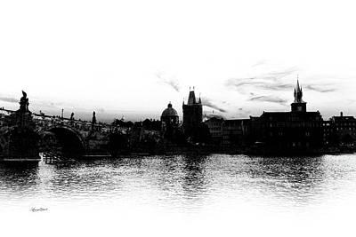 Photograph - Prague Skyline Silhouette Black And White by Sharon Popek