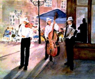 Accordian Painting - Prague Street Musicians by Jennie Samuel