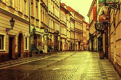 Photograph - Prague Streets 1. Series Golden Prague by Jenny Rainbow