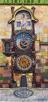 Clock Painting - Prague The Horologue At Oldtownhall by Yuriy  Shevchuk