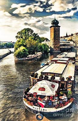 Skyline Painting - Prague Vltava River Cruise Watercolor by Justyna JBJart