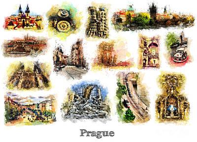 Prague Painting - Prague Watercolor Postcard by Justyna JBJart