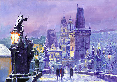 Charles Bridge Painting - Prague Winter Charles Bridge by Yuriy Shevchuk