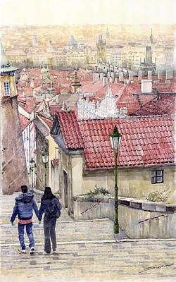 Red Roof Painting - Prague Zamecky Schody Castle Steps by Yuriy  Shevchuk