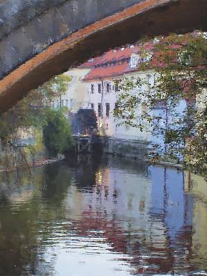 Prague Digital Art Digital Art - Praha Canal Dusk by Shawn Wallwork