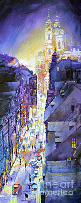 Winter Light Painting - Praha Mostecka Str. Winter Evening by Yuriy Shevchuk