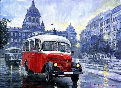Bus Painting - Praha Rnd Bus 1950 Skoda 706 Ro by Yuriy Shevchuk
