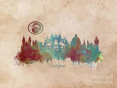 Praha Skyline Panorame Art Print by Justyna JBJart