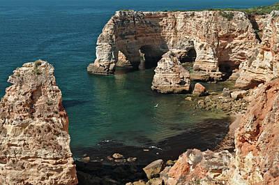Praia Da Marinha Cliffs And Sea Art Print