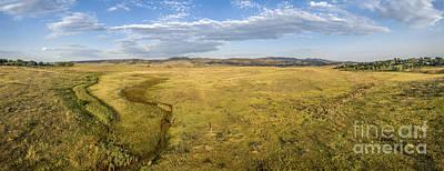 prairie at Colorado foothills - aerial panorama Art Print by Marek Uliasz