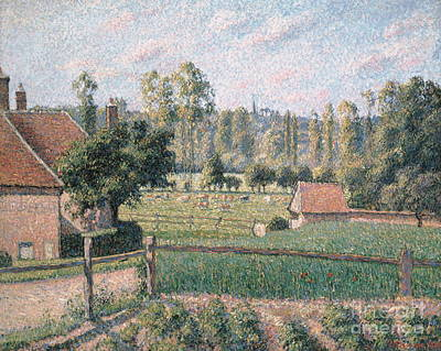 Rustic Barn Painting - Prairie At Eragny, 1889 by Camille Pissarro