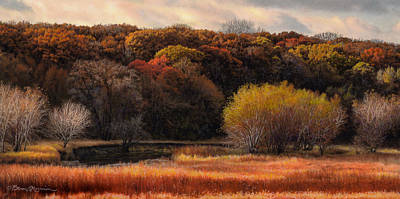 Autumn Scene Drawing - Prairie Autumn Stream by Bruce Morrison