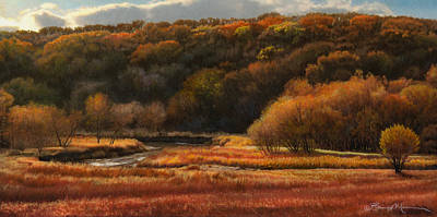 Color Pencil Drawing - Prairie Autumn Stream No.2 by Bruce Morrison