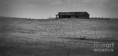 Photograph - Prairie Barn In Black And White by Nadalyn Larsen