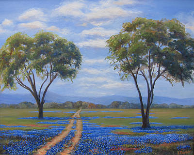 Houston Western Painting - Prairie Bluebonnets by Susan Thacker