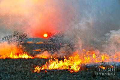 World Forgotten - Prairie Burn Sunset in Kansas by Catherine Sherman