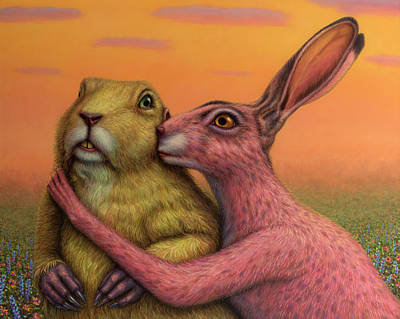Prairie Dog And Rabbit Couple Art Print