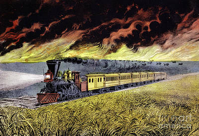 Prairie Fires Of The Great West Art Print by Currier and Ives