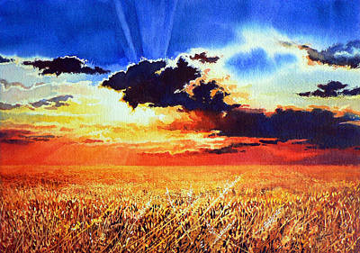 Prairie Sunset Painting - Prairie Gold by Hanne Lore Koehler