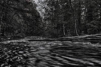 Photograph - Prairie River Log Jam Black And White by Dale Kauzlaric