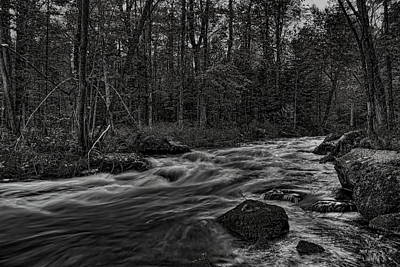 Photograph - Prairie River Whitewater Black And White by Dale Kauzlaric