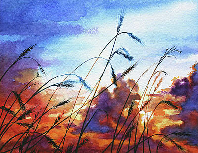 Prairie Sunset Wall Art - Painting - Prairie Sky by Hanne Lore Koehler