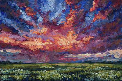 Prairie Sunset Painting - Prairie Storm by Joe Reimer