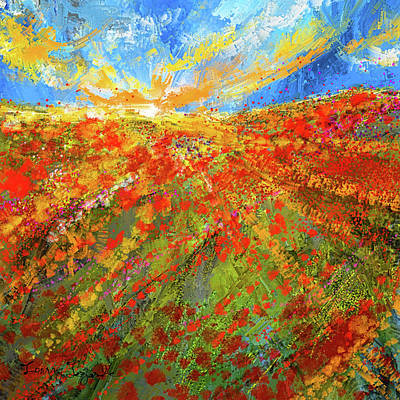 Prairie Sunset Wall Art - Painting - Prairie Sunrise - Poppies Art by Lourry Legarde