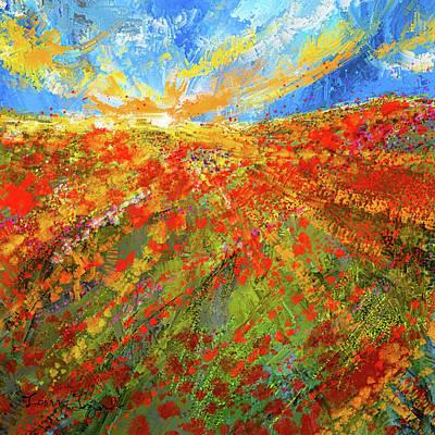 Miles Davis - Prairie Sunrise - Poppies Art by Lourry Legarde