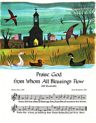 Seventeenth Century Mixed Media - Praise God From Whom All Blessings Flow, Old Hundredth, Seventeenth Century Hymn, Poster Print by Zalman Latzkovich