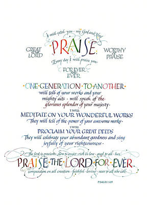 Praise Psalm 145 Print by Judy Dodds