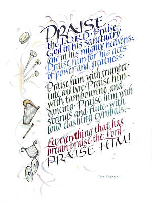 Harp Painting - Praise The Lord by Judy Dodds