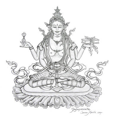 Buddha Drawing - Prajnaparamita -perfection Of Wisdom by Carmen Mensink