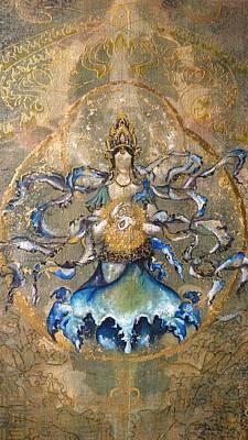 Buddhist Painting - Prajnaparamita With Circumpunct - Detail  by Silk Alchemy