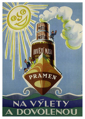 Royalty-Free and Rights-Managed Images - Pramen Hovezi Maso - Jatrova Pastika - Vintage Advertising Poster by Studio Grafiikka