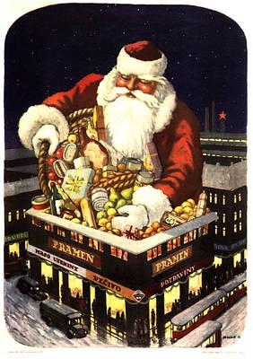 Mixed Media - Pramen, Maso Uzeniny - Santa Claus' Gift - Christmas - Vintage Food Advertising Poster by Studio Grafiikka