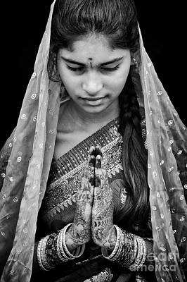 Thoughtful Photograph - Pranams Monochrome by Tim Gainey