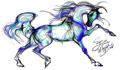 Drawing - Prancing Arabian Horse by Stacey Mayer