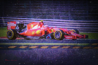 Track Teams Mixed Media - Prancing Horse Vettel by Marvin Spates