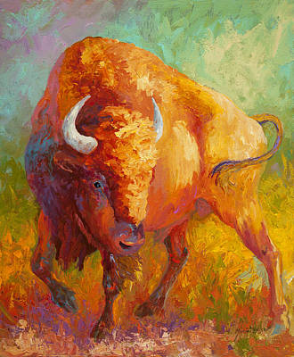 Bison Wall Art - Painting - Prarie Gold by Marion Rose