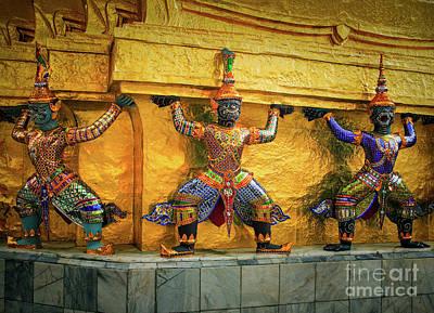 Ceremonial Photograph - Prasatphradhepbidorn Golden Wall by Inge Johnsson