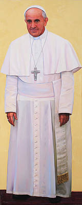 Painting - Pray For Me Portrait Of Pope Francis by Richard Barone