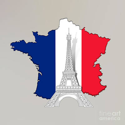 French Map Digital Art - Pray For Paris by Bedros Awak
