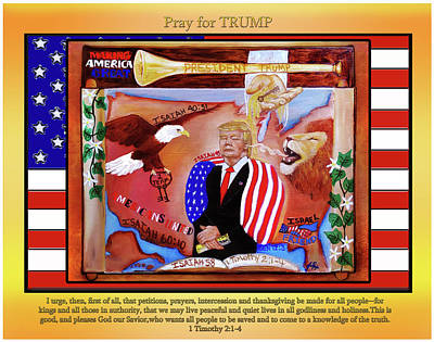 Prophetic Mixed Media - Pray For President Trump by Jennifer Page