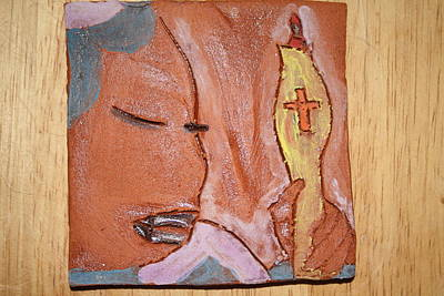 Ceramic Art - Prayer 33 - Tile by Gloria Ssali
