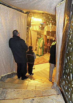 Photograph - Prayer At Nativity Grotto by Munir Alawi